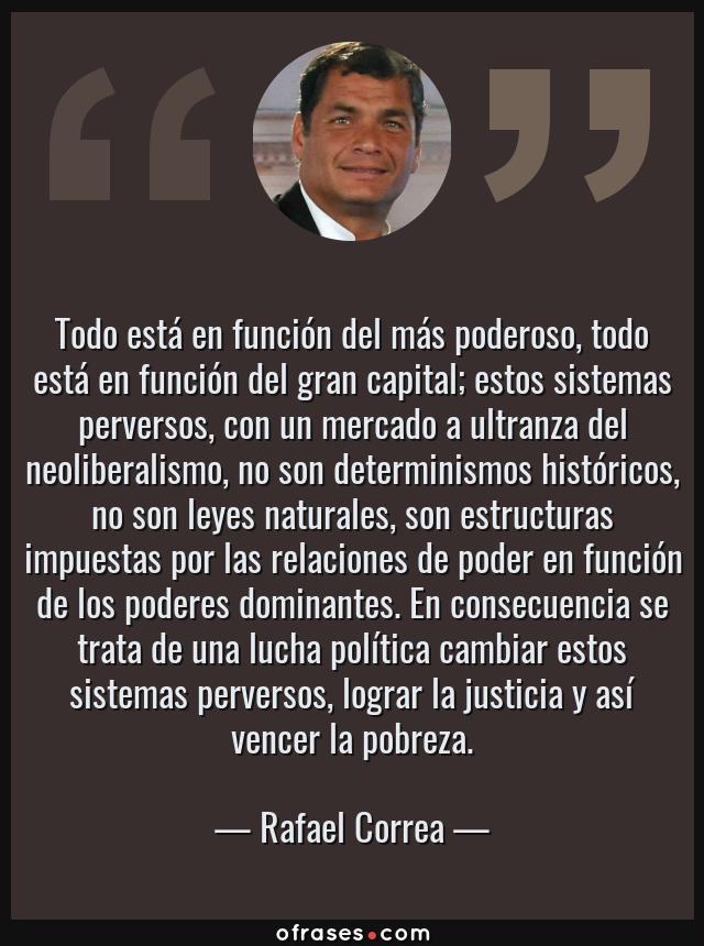 Frases de Rafael Correa - Todo está en función del más poderoso, todo está  en