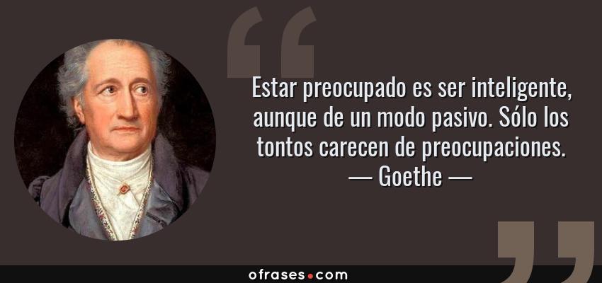 Frases de Goethe - Estar preocupado es ser inteligente, aunque de un modo pasivo. Sólo los tontos carecen de preocupaciones.