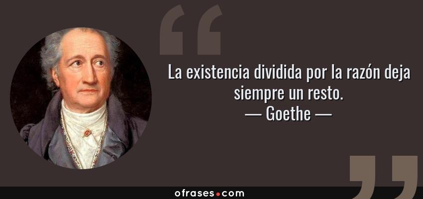 Frases de Goethe - La existencia dividida por la razón deja siempre un resto.