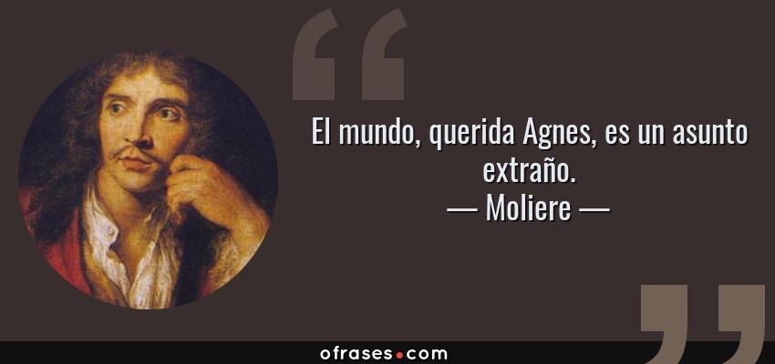 Frases de Moliere - El mundo, querida Agnes, es un asunto extraño.