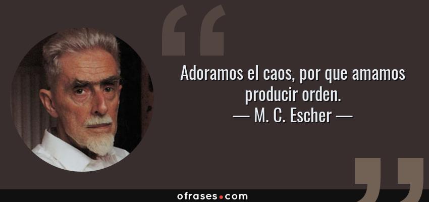 Frases de M. C. Escher - Adoramos el caos, por que amamos producir orden.
