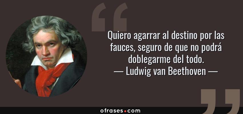Frases de Ludwig van Beethoven - Quiero agarrar al destino por las fauces, seguro de que no podrá doblegarme del todo.