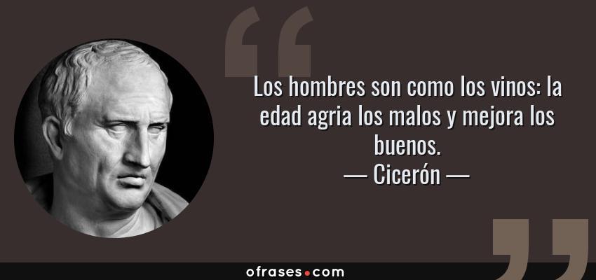 Frases de Cicerón - Los hombres son como los vinos: la edad agria los malos y mejora los buenos.