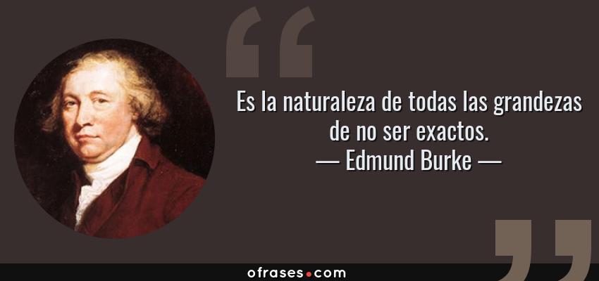 Frases de Edmund Burke - Es la naturaleza de todas las grandezas de no ser exactos.