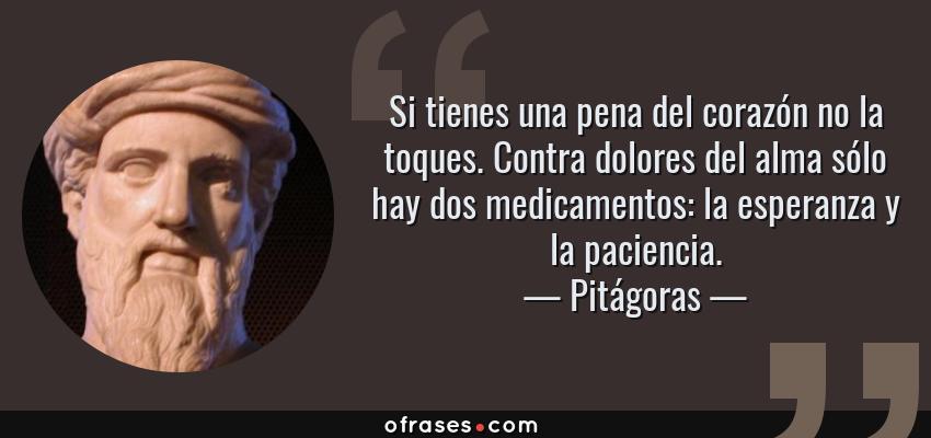 Frases de Pitágoras - Si tienes una pena del corazón no la toques. Contra dolores del alma sólo hay dos medicamentos: la esperanza y la paciencia.