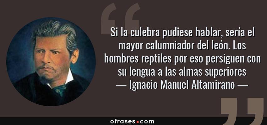 Frases de Ignacio Manuel Altamirano - Si la culebra pudiese hablar, sería el mayor calumniador del león. Los hombres reptiles por eso persiguen con su lengua a las almas superiores