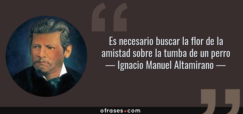 Frases de Ignacio Manuel Altamirano - Es necesario buscar la flor de la amistad sobre la tumba de un perro