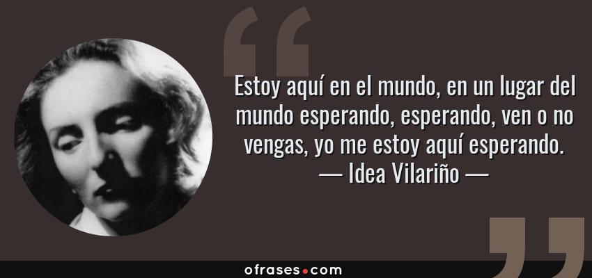 Frases de Idea Vilariño - Estoy aquí en el mundo, en un lugar del mundo esperando, esperando, ven o no vengas, yo me estoy aquí esperando.