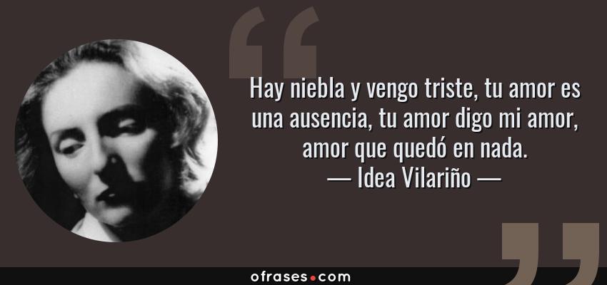 Frases de Idea Vilariño - Hay niebla y vengo triste, tu amor es una ausencia, tu amor digo mi amor, amor que quedó en nada.