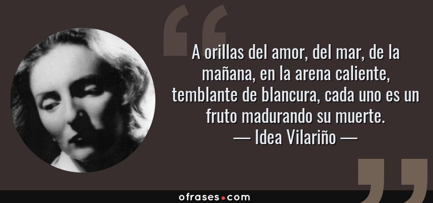 Frases de Idea Vilariño - A orillas del amor, del mar, de la mañana, en la arena caliente, temblante de blancura, cada uno es un fruto madurando su muerte.