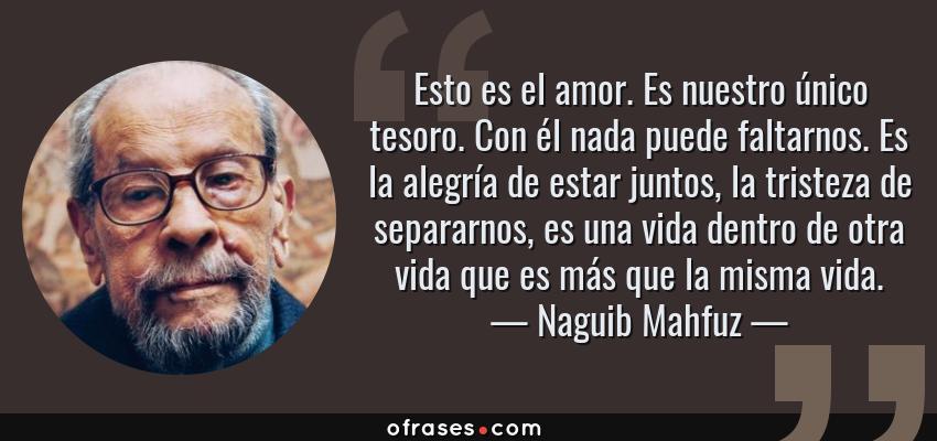 Frases de Naguib Mahfuz - Esto es el amor. Es nuestro único tesoro. Con él nada puede faltarnos. Es la alegría de estar juntos, la tristeza de separarnos, es una vida dentro de otra vida que es más que la misma vida.