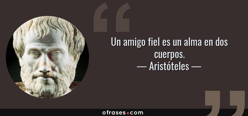 Frases de Aristóteles - Un amigo fiel es un alma en dos cuerpos.