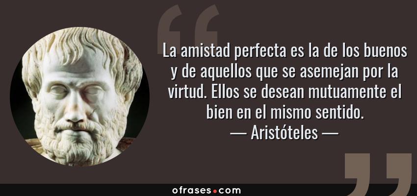 Frases de Aristóteles - La amistad perfecta es la de los buenos y de aquellos que se asemejan por la virtud. Ellos se desean mutuamente el bien en el mismo sentido.