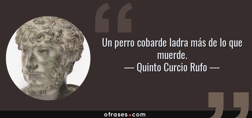 Frases de Quinto Curcio Rufo - Un perro cobarde ladra más de lo que muerde.