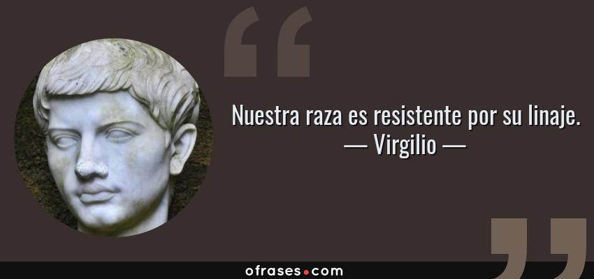 Frases de Virgilio - Nuestra raza es resistente por su linaje.