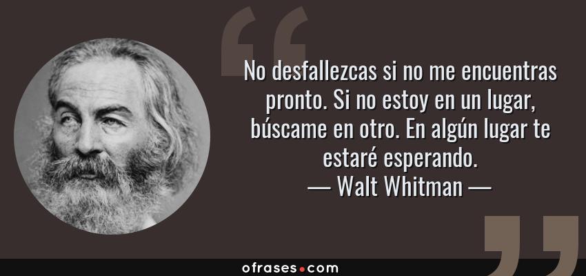 Frases de Walt Whitman - No desfallezcas si no me encuentras pronto. Si no estoy en un lugar, búscame en otro. En algún lugar te estaré esperando.