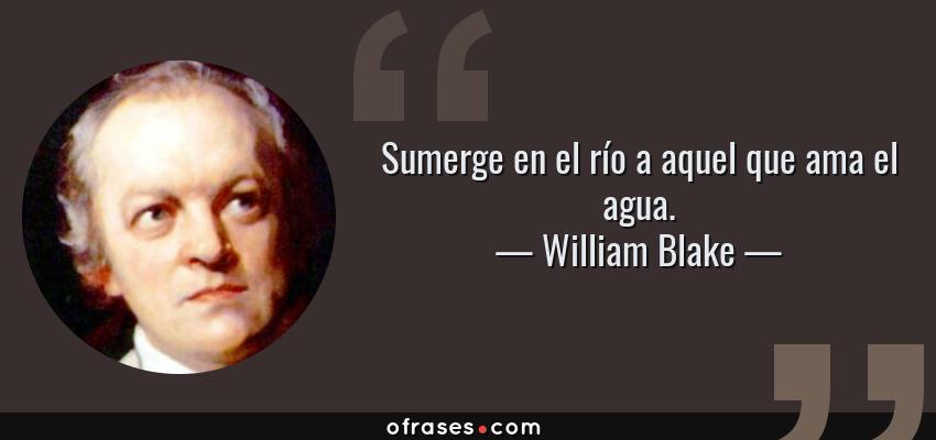 Frases de William Blake - Sumerge en el río a aquel que ama el agua.