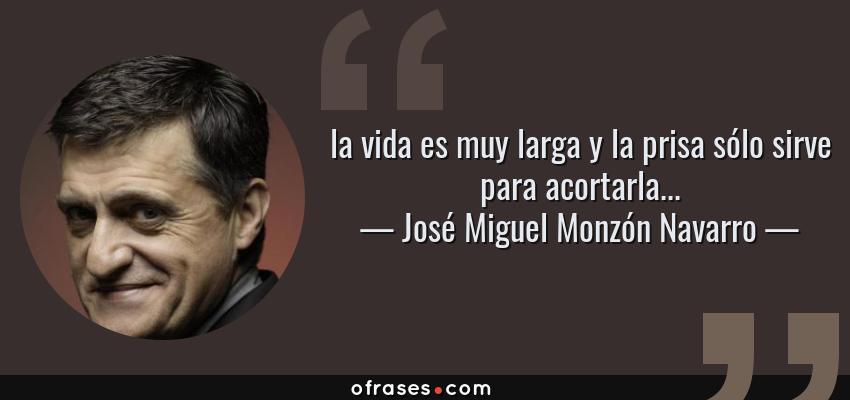 Frases de José Miguel Monzón Navarro - la vida es muy larga y la prisa sólo sirve para acortarla...