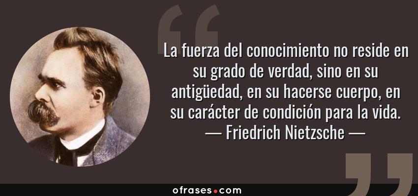 Friedrich Nietzsche La Fuerza Del Conocimiento No Reside En