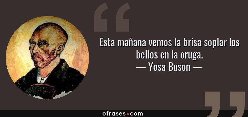 Frases de Yosa Buson - Esta mañana vemos la brisa soplar los bellos en la oruga.