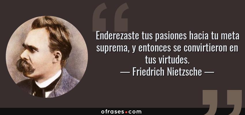 Frases de Friedrich Nietzsche - Enderezaste tus pasiones hacia tu meta suprema, y entonces se convirtieron en tus virtudes.