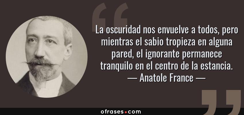 Frases de Anatole France - La oscuridad nos envuelve a todos, pero mientras el sabio tropieza en alguna pared, el ignorante permanece tranquilo en el centro de la estancia.