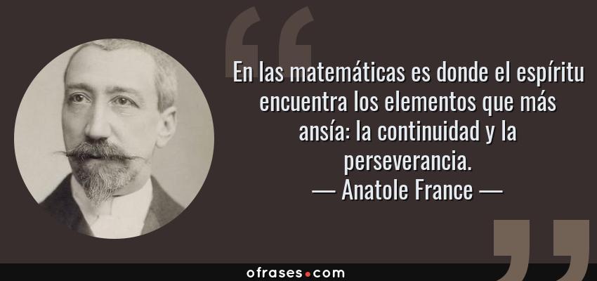 Frases de Anatole France - En las matemáticas es donde el espíritu encuentra los elementos que más ansía: la continuidad y la perseverancia.