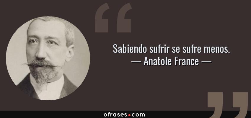 Frases de Anatole France - Sabiendo sufrir se sufre menos.