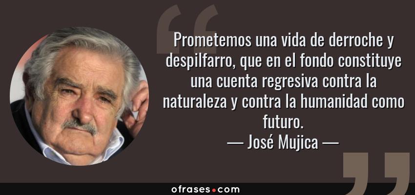 Frases de José Mujica - Prometemos una vida de derroche y despilfarro, que en el fondo constituye una cuenta regresiva contra la naturaleza y contra la humanidad como futuro.