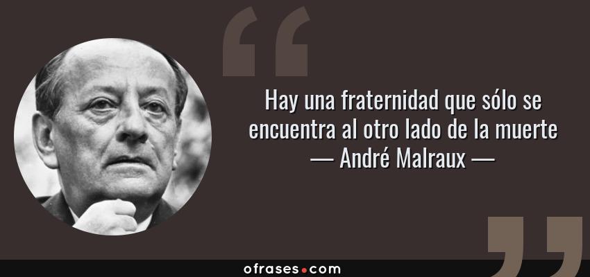 Frases de André Malraux - Hay una fraternidad que sólo se encuentra al otro lado de la muerte