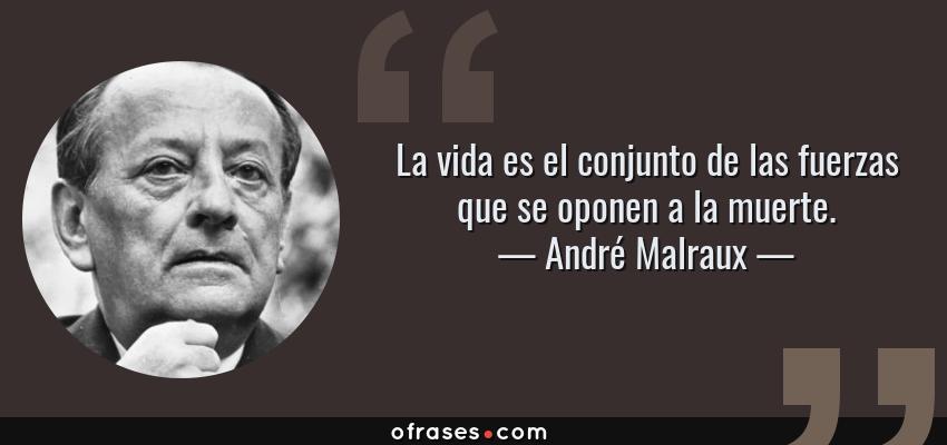 Frases de André Malraux - La vida es el conjunto de las fuerzas que se oponen a la muerte.