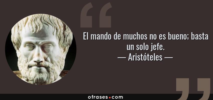 Frases de Aristóteles - El mando de muchos no es bueno; basta un solo jefe.