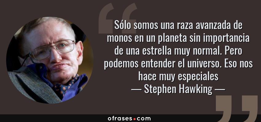 Frases de Stephen Hawking - Sólo somos una raza avanzada de monos en un planeta sin importancia de una estrella muy normal. Pero podemos entender el universo. Eso nos hace muy especiales