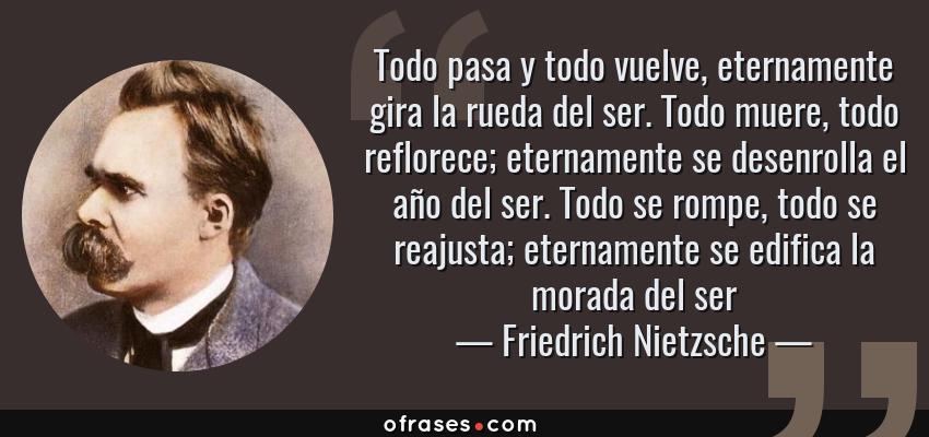 Frases de Friedrich Nietzsche - Todo pasa y todo vuelve, eternamente gira la rueda del ser. Todo muere, todo reflorece; eternamente se desenrolla el año del ser. Todo se rompe, todo se reajusta; eternamente se edifica la morada del ser