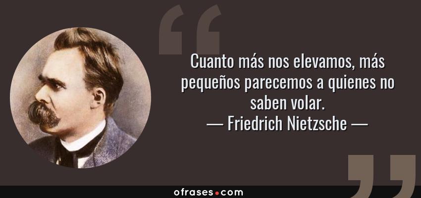 Frases de Friedrich Nietzsche - Cuanto más nos elevamos, más pequeños parecemos a quienes no saben volar.