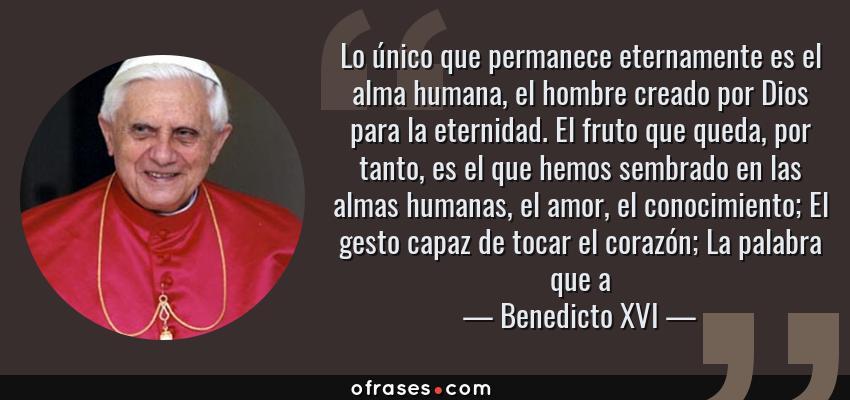Frases de Benedicto XVI - Lo único que permanece eternamente es el alma humana, el hombre creado por Dios para la eternidad. El fruto que queda, por tanto, es el que hemos sembrado en las almas humanas, el amor, el conocimiento; El gesto capaz de tocar el corazón; La palabra que a