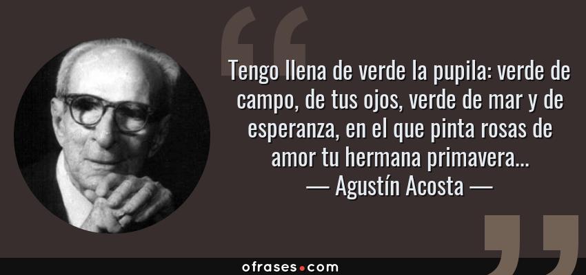 Frases de Agustín Acosta - Tengo llena de verde la pupila: verde de campo, de tus ojos, verde de mar y de esperanza, en el que pinta rosas de amor tu hermana primavera...