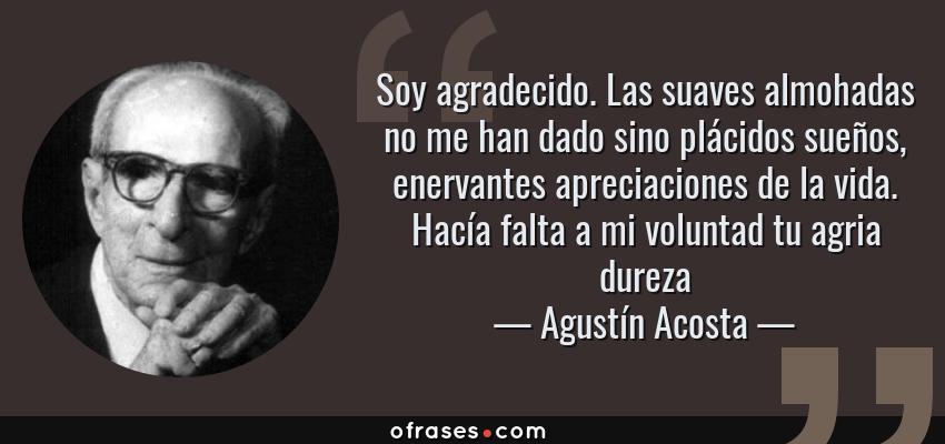 Frases de Agustín Acosta - Soy agradecido. Las suaves almohadas no me han dado sino plácidos sueños, enervantes apreciaciones de la vida. Hacía falta a mi voluntad tu agria dureza