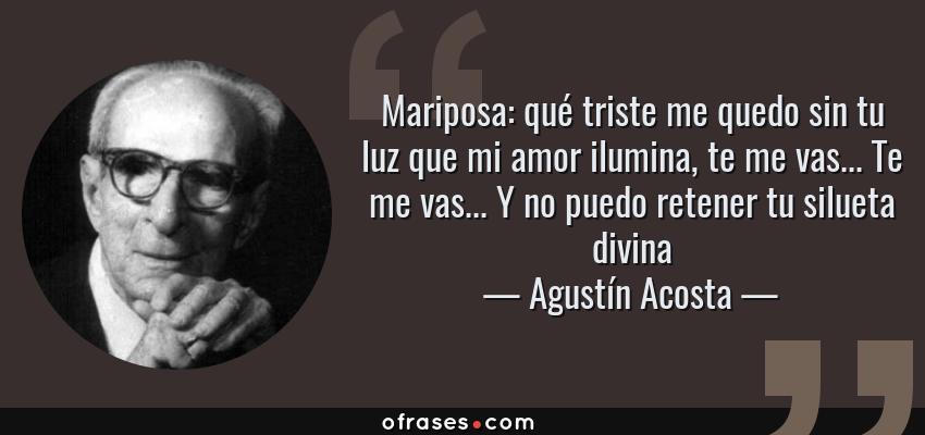 Frases de Agustín Acosta - Mariposa: qué triste me quedo sin tu luz que mi amor ilumina, te me vas... Te me vas... Y no puedo retener tu silueta divina