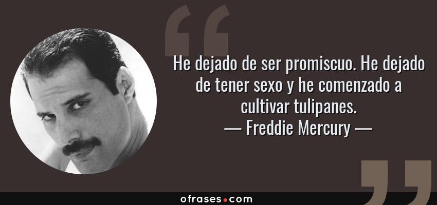 Frases de Freddie Mercury - He dejado de ser promiscuo. He dejado de tener sexo y he comenzado a cultivar tulipanes.