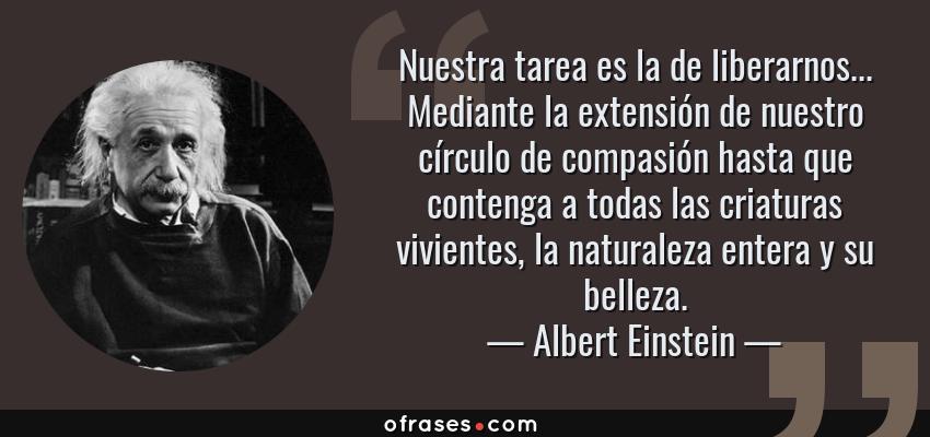 Frases de Albert Einstein - Nuestra tarea es la de liberarnos... Mediante la extensión de nuestro círculo de compasión hasta que contenga a todas las criaturas vivientes, la naturaleza entera y su belleza.