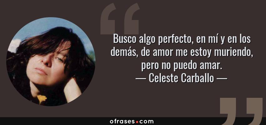 Frases de Celeste Carballo - Busco algo perfecto, en mí y en los demás, de amor me estoy muriendo, pero no puedo amar.
