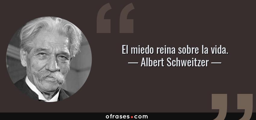Frases de Albert Schweitzer - El miedo reina sobre la vida.