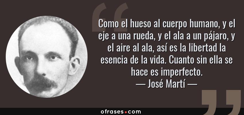 Frases de José Martí - Como el hueso al cuerpo humano, y el eje a una rueda, y el ala a un pájaro, y el aire al ala, así es la libertad la esencia de la vida. Cuanto sin ella se hace es imperfecto.