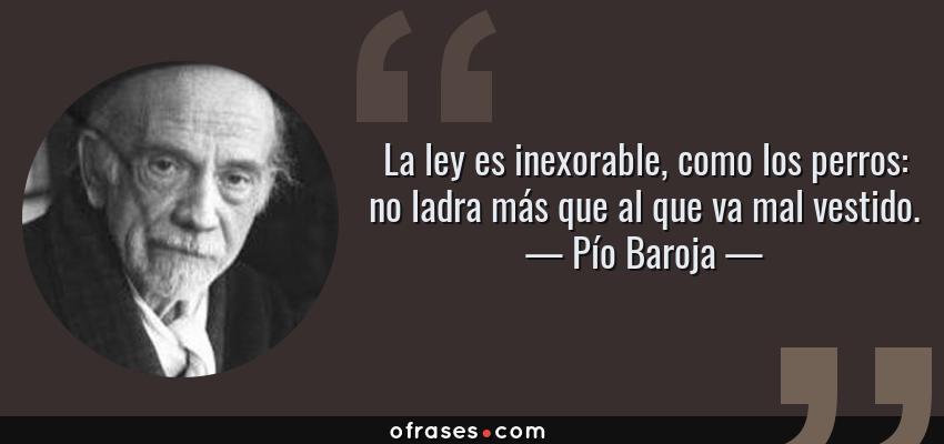 Frases de Pío Baroja - La ley es inexorable, como los perros: no ladra más que al que va mal vestido.
