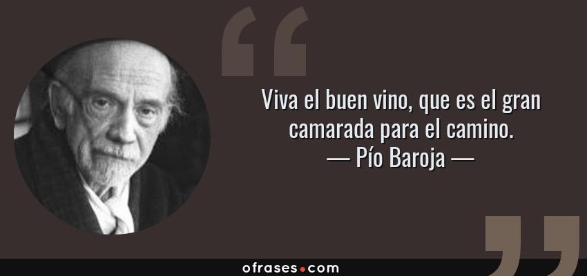 Frases de Pío Baroja - Viva el buen vino, que es el gran camarada para el camino.