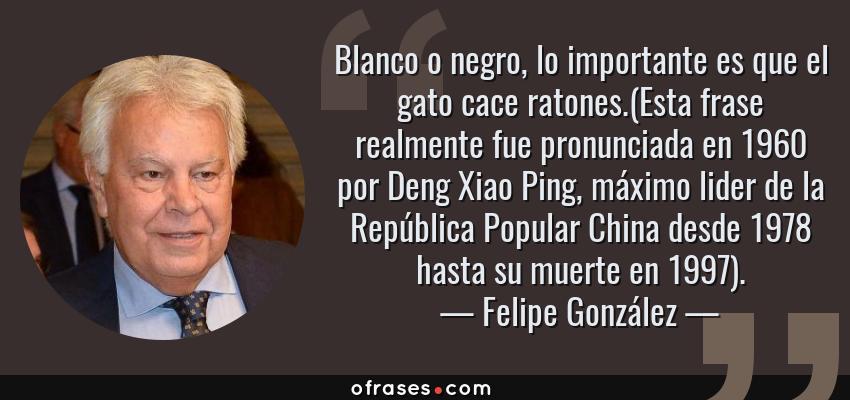 Frases de Felipe González - Blanco o negro, lo importante es que el gato cace ratones.(Esta frase realmente fue pronunciada en 1960 por Deng Xiao Ping, máximo lider de la República Popular China desde 1978 hasta su muerte en 1997).