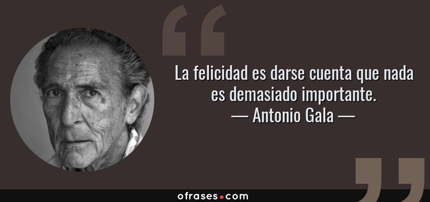 Frases de Antonio Gala - La felicidad es darse cuenta que nada es demasiado importante.