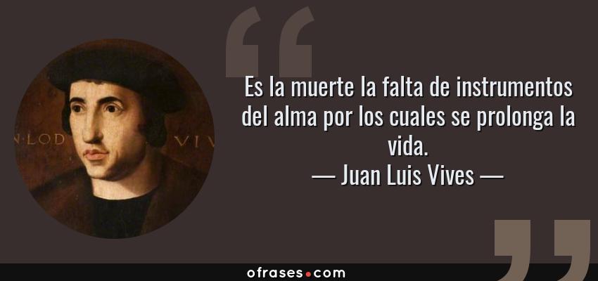 Frases de Juan Luis Vives - Es la muerte la falta de instrumentos del alma por los cuales se prolonga la vida.