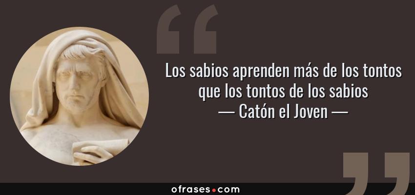 Frases de Catón el Joven - Los sabios aprenden más de los tontos que los tontos de los sabios